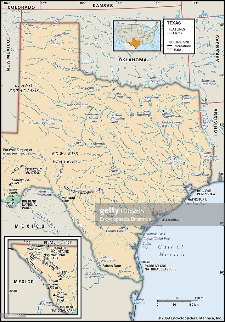 Physical Map Of Texas Pictures Getty Images - Physical world map showing mountain ranges