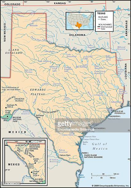Physical Map Of Texas Physical Map Of The State Of Texas Showing Dams Mountain Ranges And Other Features