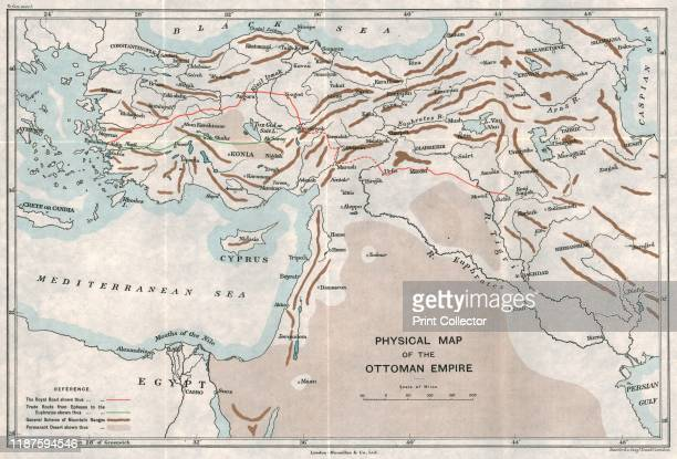 Physical Map of the Ottoman Empire' circa 1915 Map showing the eastern Mediterranean Cyprus the Middle East the rivers Tigris and Euphrates what is...