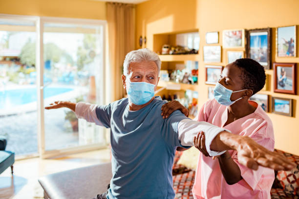 physical therapy at home - care home stock pictures, royalty-free photos & images