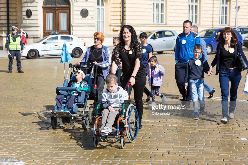 Physically and mentally disabled people : Stock Photo