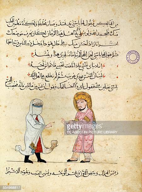 A physician making a prescription to a veiled woman illuminated page from Da'wat alAtibba or Symposium medicorum by Ibn Butlan Arabic manuscript...