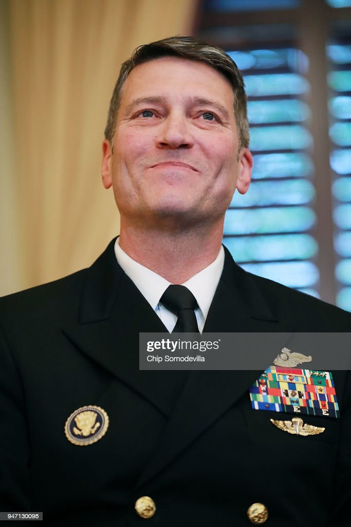 Physician to the President U.S. Navy Rear Admiral Ronny Jackson meets with Senate Veterans Affairs Committee Chairman Johnny Isakson (R-GA) in his office in the Russell Senate Office Building on Capitol Hill April 16, 2018 in Washington, DC. President Donald Trump nominated Jackson, his personal doctor at the White House, to be the new Secretary of the Department of Veterans Affairs after Trump fired David Shulkin on March 28.