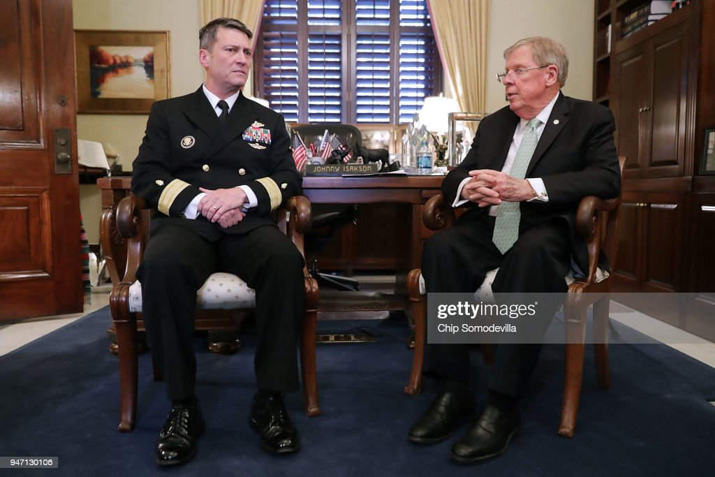 Physician to the President U.S. Navy Rear Admiral Ronny Jackson (L) meets with Senate Veterans Affairs Committee Chairman Johnny Isakson (R-GA) in his office in the Russell Senate Office Building on Capitol Hill April 16, 2018 in Washington, DC. President Donald Trump nominated Jackson, his personal doctor at the White House, to be the new Secretary of the Department of Veterans Affairs after Trump fired David Shulkin on March 28.