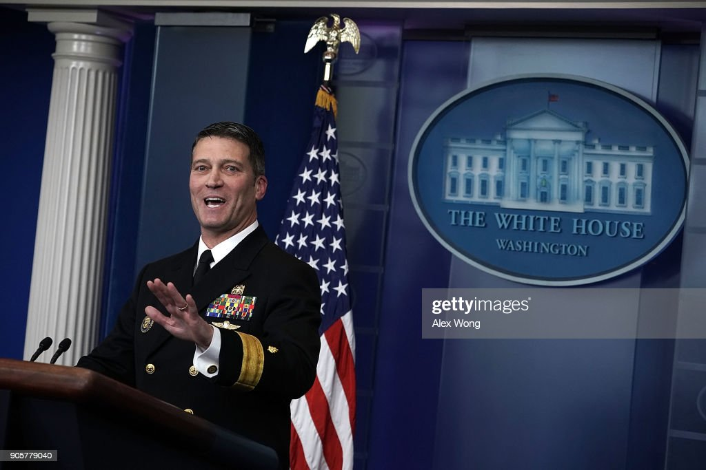 Navy Rear Adm. Dr. Ronny Jackson Speaks To Media During White House Press Briefing On President's Recent Medical Exam