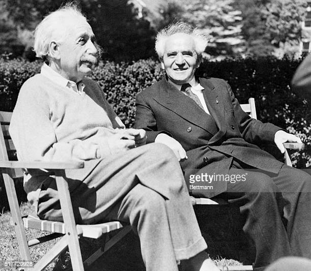 Physicist Albert Einstein and David BenGurion first prime minister of Israel relax in Einstein's backyard