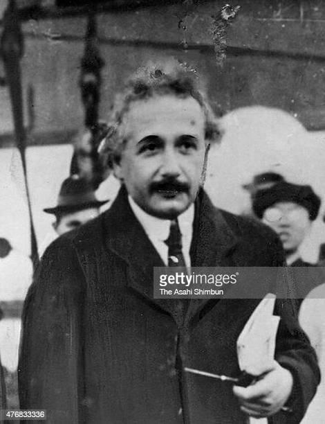 Physicist Albert Einstein is seen upon arrival at Kobe port on November 18 1922 in Kobe Hyogo Japan