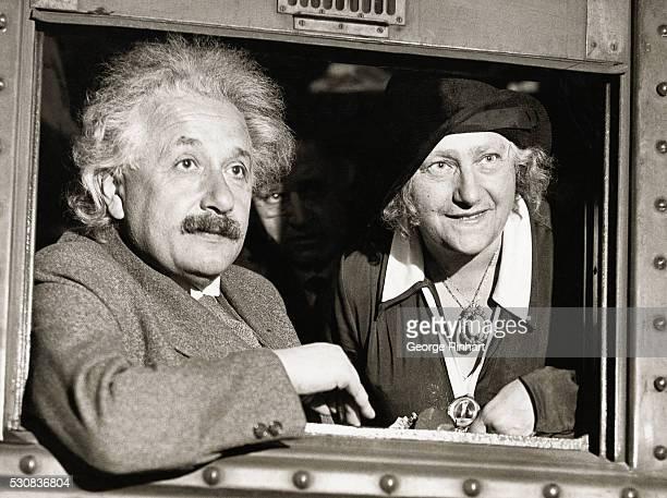 Physicist Albert Einstein with his wife Elsa in Chicago