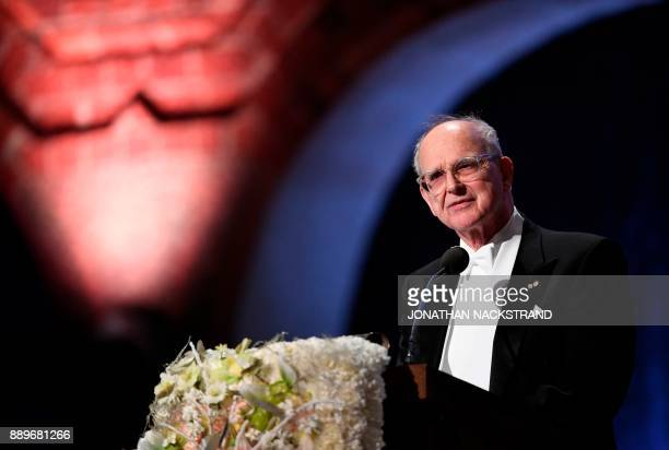 US physicist and Nobel Prize in Physics 2017 laureate Rainer Weiss delivers his Banquet Speech at the 2017 Nobel Prize banquet at the Stockholm City...