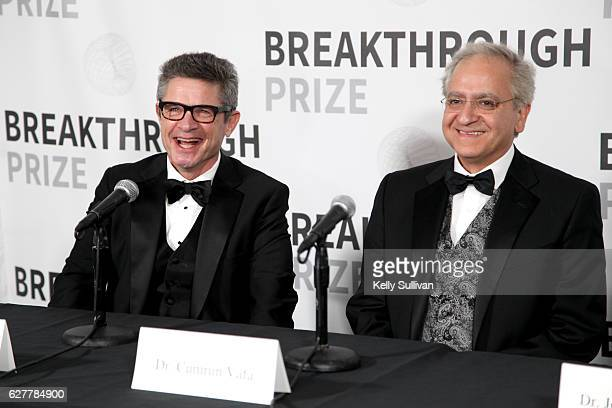 Physicist Andrew Strominger and Dr Cumrun Vafa attend the 2017 Breakthrough Prize at NASA Ames Research Center on December 4 2016 in Mountain View...