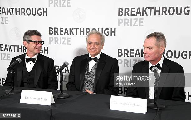 Physicist Andrew Strominger Dr Cumrun Vafa and physicist Joseph Polchinski attend the 2017 Breakthrough Prize at NASA Ames Research Center on...