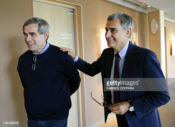 Physicist at the Institute of Nuclear Physics in Lyon and head of the neutrinos research group Dario Auterio and physicist Antonio Ereditato...