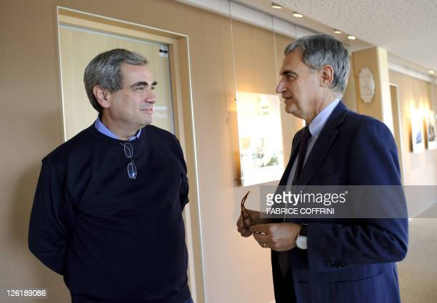 Physicist at the Institute of Nuclear Physics in Lyon and head of the neutrinos research group Dario Auterio chats with physicist Antonio Ereditato...