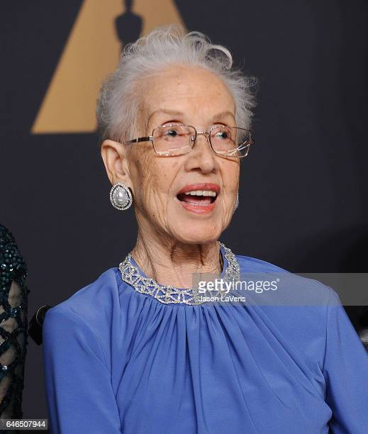 Physicist Katherine Johnson poses in the press room at the 89th annual Academy Awards at Hollywood Highland Center on February 26 2017 in Hollywood...