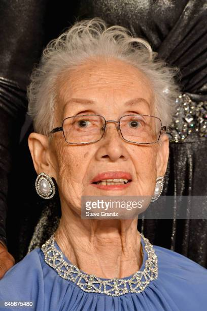 Physicist Katherine Johnson poses in the press room during the 89th Annual Academy Awards at Hollywood Highland Center on February 26 2017 in...