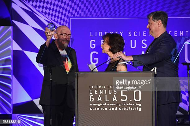 Physicist Kip Thorne accepts his Genius Award from Jennifer Chalsty and President and CEO of the Liberty Science Center Paul Hoffman onstage at the...