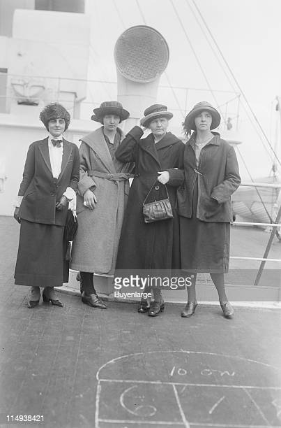 Physicist Marie Curie arrives in New York with her daughters Irene and Eve on the 'RMS OIympic' to raise funds for her research on radium 1921 From...