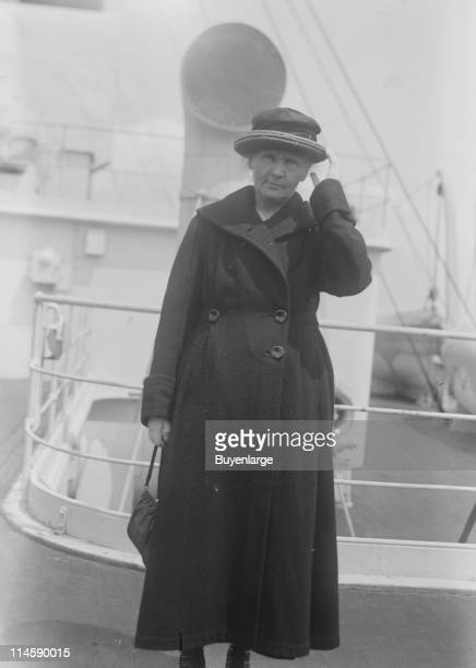Physicist Marie Curie seen on board a ship possibly the RMS Olympic during a visit to the United States early twentieth century The image is likely...