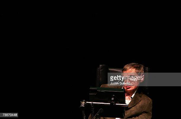 Physicist Professor Stephen Hawking speaks at Zellerbach Auditorium on the UC Berkeley campus March 13 2007 in Berkeley California Hawking delivered...