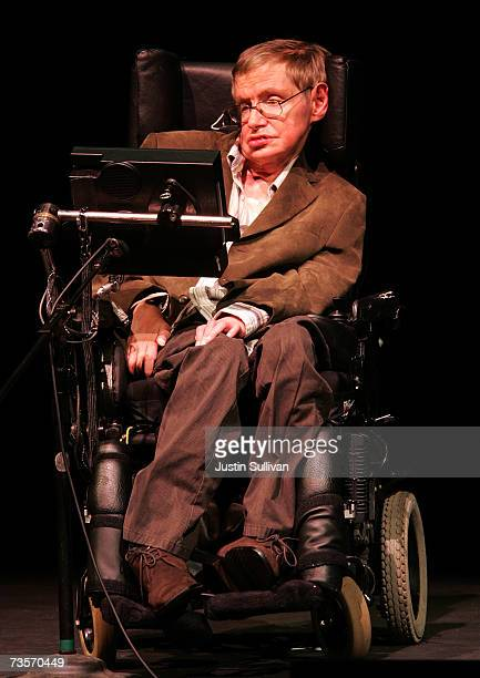 Physicist Professor Stephen Hawking speaks at Zellerbach Auditorium on the UC Berkeley campus March 13, 2007 in Berkeley, California. Hawking...