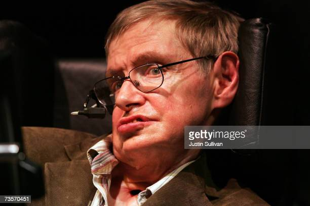 Physicist Professor Stephen Hawking speaks at Zellerbach Auditorium on the UC Berkeley campus March 13 2007 in Berkeley California Hawking delivered...