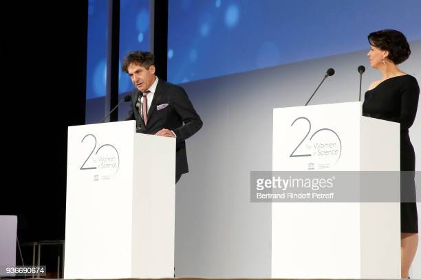Physicist Research Director CEA Etienne Klein and Executive Vice President of the L'Oreal Foundation Alexandra Palt present the 2018 L'Oreal UNESCO...