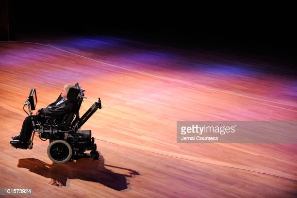 Physicist Stephen Hawking onstage during the 2010 World Science Festival Opening Night Gala at Alice Tully Hall, Lincoln Center on June 2, 2010 in...