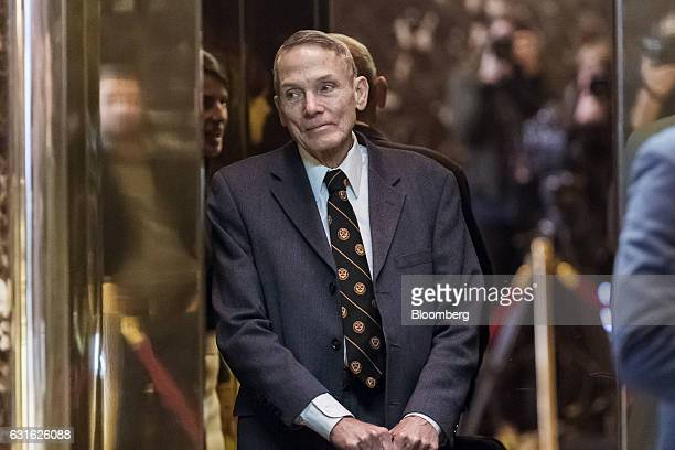 Physicist William Happer stands inside the elevator in the lobby of Trump Tower in New York, U.S., on Friday, Jan. 13, 2017. President-elect Donald...