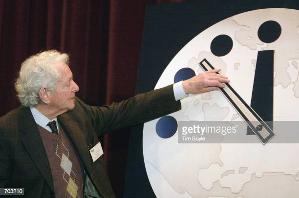 Physics Nobel Prize winner Dr Leon M Lederman director of the Fermi National Accelerator Laboratory in Batavia Illinois moves the hands of the...
