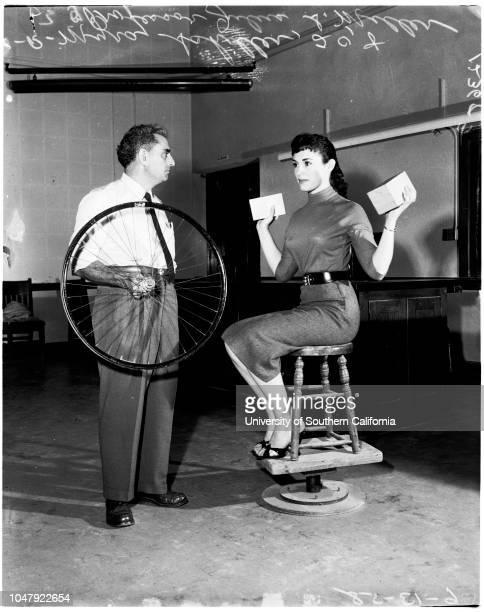 Physics professor at University of California Los Angeles, 13 June 1958. Myra Schiller -- 20 years ;Julius Sumner Miller of El Camino College,...