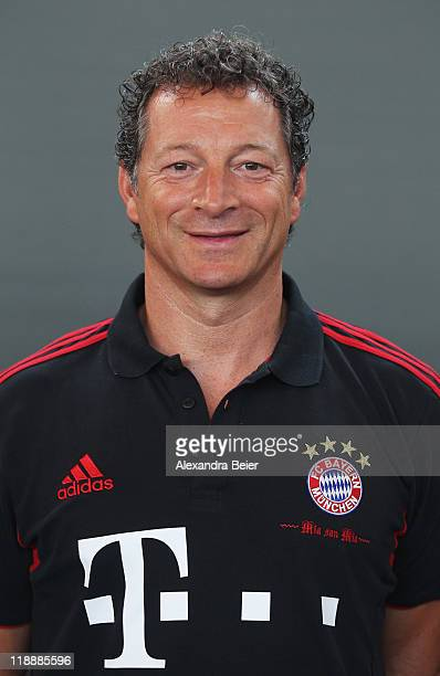 Physio therapist Gianni Bianchi of Bayern Muenchen poses during the FC Bayern Muenchen team presentation for the upcoming season 2011/2012 at...