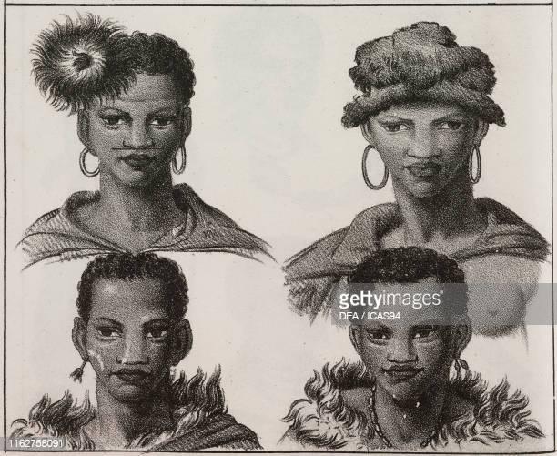 Physiognomy of the Khoikhoi people Africa lithograph from Galleria universale di tutti i popoli del mondo ossia storia dei costumi religioni riti...