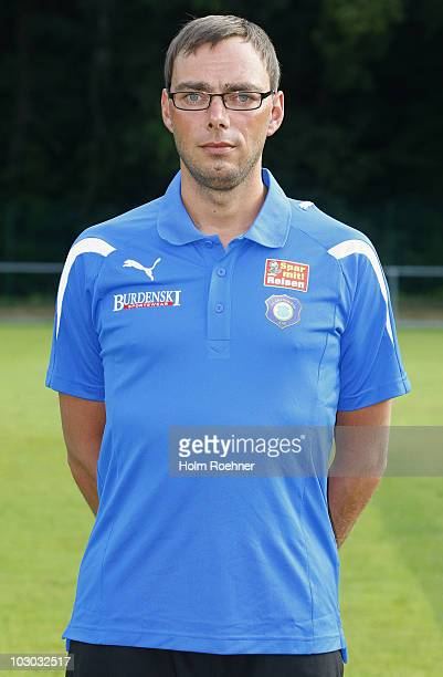Physiotherapeut Friedrich Ramminger poses during the Bundesliga 2nd Team Presentation of Erzgebirge Aue on July 22 2010 in Aue Germany