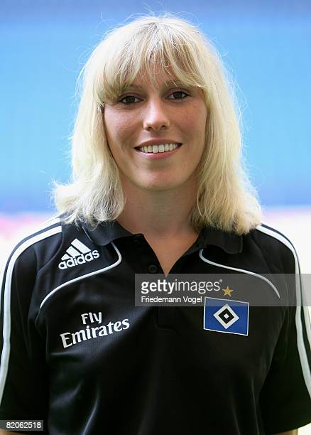 Physiotherapist Andrea Mueller poses during the Bundesliga 1st team presentation of Hamburger SV at the HSH Nordbank Arena on July 25 2008 in Hamburg...