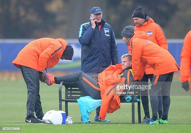 physiotherapist Frederick Syna team leader Nello di Martino Arne Maier goalkeepertrainer Zsolt Petry and Coassistant coach Admir Hamzagic of Hertha...
