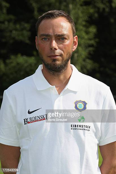 Physiotherapist Friedrich Ramminger of Aue poses during the Second Bundesliga team presentation of Erzgebirge Aue on June 2 2013 in Aue Germany