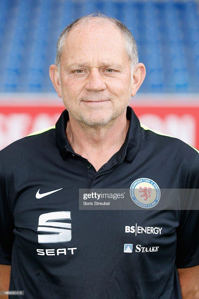 Physiotherapist Guenter Jonczyk poses during the Eintracht Braunschweig team presentation at Eintracht Stadion on July 9, 2015 in Braunschweig, Germany.