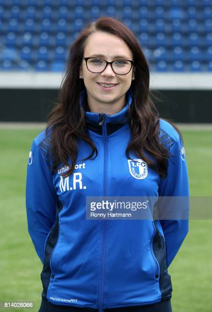 Physiotherapist Mandy Rosenschon poses during the team presentation of 1 FC Magdeburg at MDCCArena on July 13 2017 in Magdeburg Germany