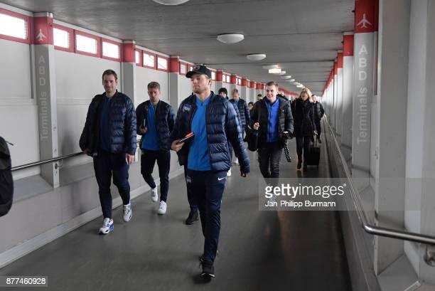 physiotherapist Michael Becker Mitchell Weiser Alexander Esswein of Hertha BSC during the departure on november 22 2017 in Berlin Germany
