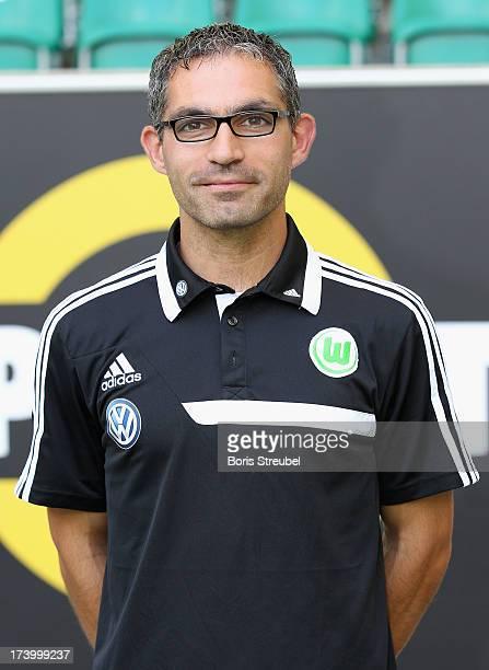 Physiotherapist Michele Putaro of VfL Wolfsburg poses during the Bundesliga team presentation of VfL Wolfsburg at Volkswagen Arena on July 18 2013 in...
