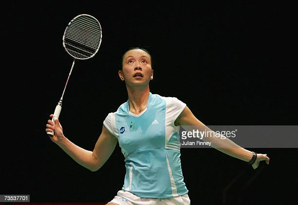 Pi Hongyan of France prepares to play a shot in her match against Wang Chen of of Hong Kong in the quarter final during the Yonex All England Open...