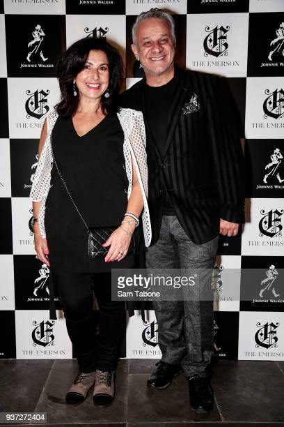 Pia and Dom Bagnato attends the Johnnie Walker Grand Prix Penthouse Party at The Emerson on March 24, 2018 in Melbourne, Australia.