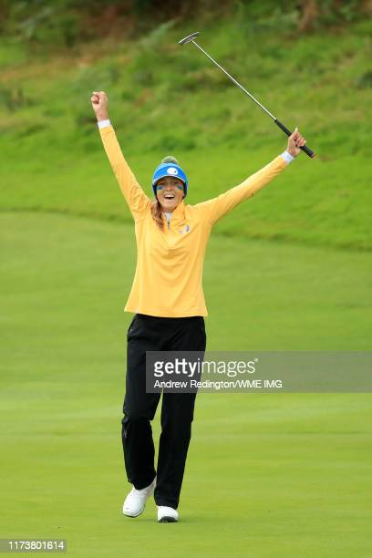 Pia Bapnik of Team Europe celebrates winning her match on the 17th green during the PING Junior Solheim Cup during Preview Day 3 of The Solheim Cup...