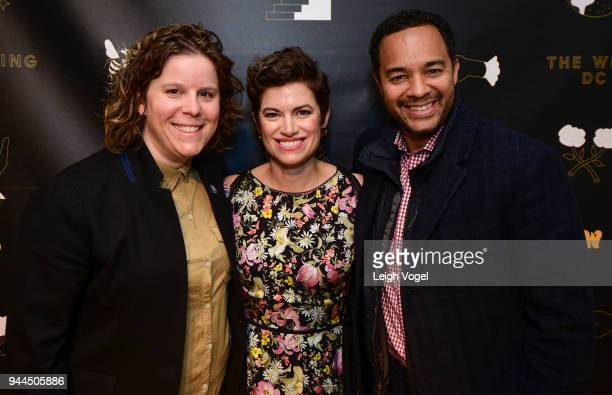 Pia Carusone Giovanna Gray Lockhart and DC Deputy Mayor for Planning and Economic Development Brian Kenner attend The Wing DC Opening Celebration in...