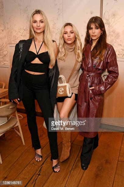 Pia Cattapan, Betsy-Blue English and Phoebe Torrance attend 4th & Reckless x Elsa Hosk campaign launch at Hide Restaurant on October 26, 2021 in...