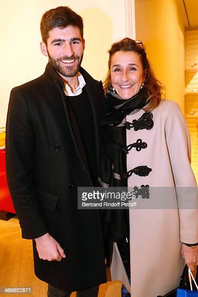 Pia de Brantes and her son Archibald Pearson attend the 'Le Paris du Tout Paris' Book written by Alexandra Senes Presentation at Maison Roger Vivier...