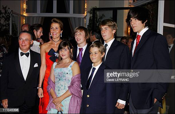 Pia de Brantes with family in the salon for ambassadors of casino of Deauville grand ball to benefit Care France presided by Marina de Brantes and...