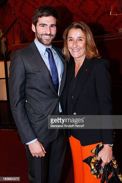 Pia de Brantes with her son Archibald Pearson attending 'La Dame De La Mer' Gala play to benefit Care Humanitarian Organization held in Montparnasse...