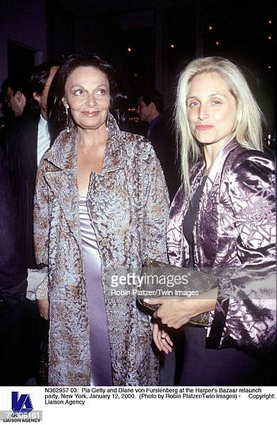 Pia Getty and Diane von Furstenberg at the Harper's Bazaar relaunch party New York January 12 2000