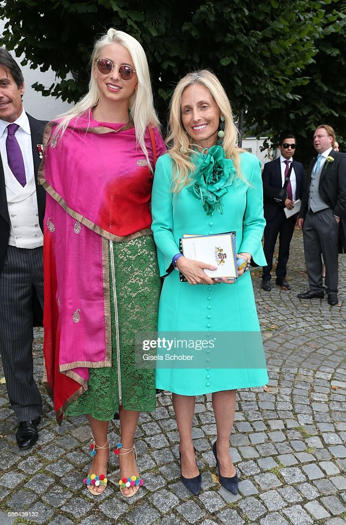 Pia Getty and her daughter Isabelle Getty (L) during the wedding of Prince Maximilian zu Sayn-Wittgenstein-Berleburg and Franziska Balzer on August 6, 2016 in Bad Laasphe, Germany.